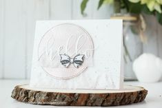 """Pretty """"Hello"""" card using Brutus Monroe's Pink Champagne Embossing Powder and Sentiment Die"""