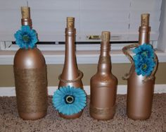 Wine Bottle Décor-Jute Wine Bottles by WhyDontUWineAboutit on Etsy