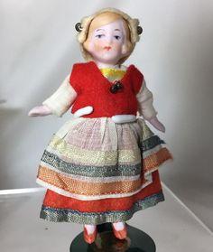 Darling c1920s German All Bisque Hertwig Boy & Girl Dollhouse Doll from memoriesofthingspasttoo on Ruby Lane