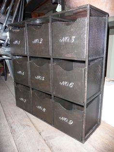 vintage industrial metal bins