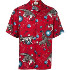 Gucci printed pyjama shirt ($1,050) ❤ liked on Polyvore featuring men's fashion, men's clothing, men's shirts, men's casual shirts, red, mens animal print shirt, mens red silk shirt, mens short sleeve shirts and mens casual short-sleeve button-down shirts