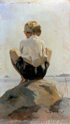 Albert Edelfelt - Auf einem Felsen hockender Junge