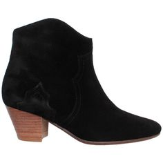 Isabel Marant Suede Dicker boots ($461) ❤ liked on Polyvore featuring shoes, boots, nero, stitch shoes, pointed shoes, pointy shoes, pointy suede boots and mid-heel boots