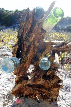 driftwood wine rack by kreativeKatsbiz on Etsy, $275.00