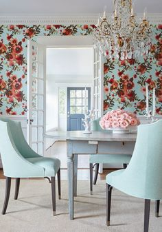 Thibaut Open Spaces Aqua and Coral Wallpaper Home Decor Trends, Home Decor Styles, Cottage Chic, Design Tradicional, Teintes Pastel, Looking For Houses, Kitchen Themes, Room Set, Interior Design Inspiration