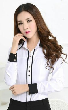 New 2015 Spring Autumn Formal White Shirts Women Blouses Work Wear Long Sleeve OL Office Uniform Shi White Shirts Women, Shirts For Girls, Blouses For Women, Versace Perfume, Uniform Shirts, Cute Blouses, Formal Shirts, Office Fashion, Mode Outfits