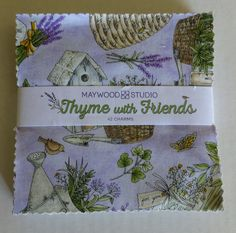 "Thyme With Friends~Cotton Fabric,Quilt,Craft,Floral,Charm Pack,5"" Squares by Maywood Studio,Fast Shipping CP193"
