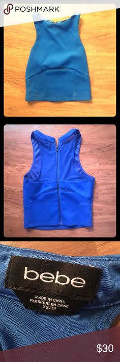 XS cobalt blue Bebe croptop Super cute and flirty cobalt blue crop top from Bebe, size XS. Only worn twice! Great top for spring!! bebe Tops Crop Tops