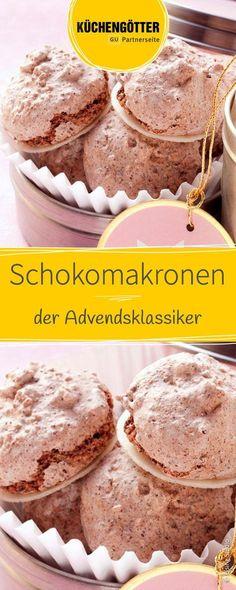 Rezept für Schokomakronen mit einem Mix aus Mandeln, Kakao und Zartbitterschokolade