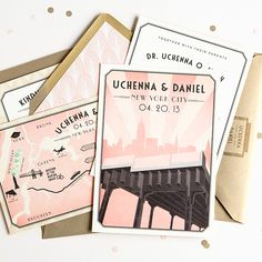 """New York City"" invitation suite by Swiss Cottage Designs"