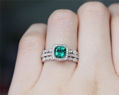 Gorgeous!!! Love the bands! 6mm Cushion Cut Emerald Ring Set Solid 14K White by JulianStudio
