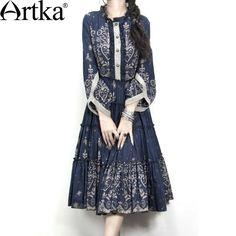 Artka akkadian autumn women's 100% cotton navy blue ultralarge classical one piece dress