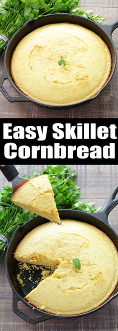 This cowboy Western-style Easy Skillet Cornbread is the perfect side for every soup, stew, and chili you make this winter. It takes just minutes to whip up this sweet cornbread and everyone always loves it!