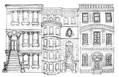 Brownstone buildings drawing | NYC Brownstones | PRISCILLA PARIZEAU