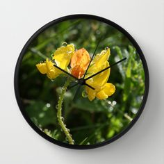 Gul blomst Wall Clock by lisnas Wall Clock Frame, Unique Wall Clocks, Natural Wood, Store, Storage, Shop
