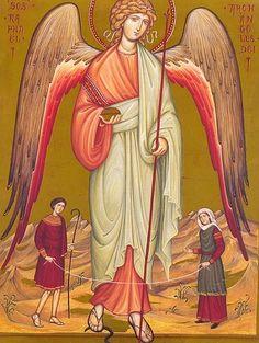 The Archangel Raphael with Tobias and Sarah Catholic Archangels, All Archangels, Raphael Angel, St Raphael, Archangel Prayers, Saint Gabriel, Cemetery Angels, San Rafael, Saint Esprit