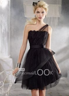 little black tulle mini bridesmaid dress with lace sheer bodice