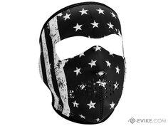 Bobster / Zan Headgear Neoprene Full Face Mask (Color: Black & White Vintage Flag)