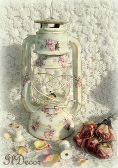 Vintage storm lamp decoupage...