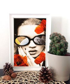 Kate Moss art print mixed media collage art by MyLettersOnTheWall