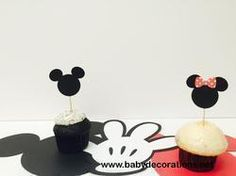 Minnie mouse and Mickey mouse cupcake toppers for birthday parties, party,baby showers, dessert table, food picks,set of 12 - http://www.babydecorations.net/minnie-mouse-and-mickey-mouse-cupcake-toppers-for-birthday-parties-partybaby-showers-dessert-table-food-picksset-of-12.html