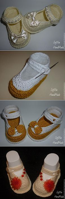 Handmade baby booties for baby gifts are easier than you think. You can create a nice one with a crochet hook and some yarn! Crochet Sandals, Crochet Baby Booties, Crochet Slippers, Knit Crochet, Baby Patterns, Crochet Patterns, Crochet Ideas, Crochet Baby Shoes, Baby Boots