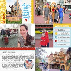 a WDW vacation documented in a Project Life album, using Project Mouse - all pages are shared on her blog - 2014 Project Life | Week 6 (1-Left) by familybees (Jenny)