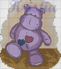 Cross-stitch Kristia Hippo, part 2..  color chart on part 3..   Gallery.ru / Фото #2 - Сиреневый бегемотик - Kristi-13