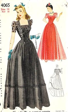 1940s Misses Evening Gown, Prom Dress, Wedding Dress, Bridesmaid Dress Vintage Sewing Pattern Simplicity 4065  Bust 32 uncut. $35.00, via Etsy.