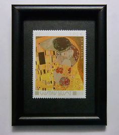 Gustav Klimt - The Kiss.....postage stamp art