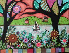 Last Ride ORIGINAL CANVAS PAINTING Folk Art Abstract Birds Sailboat Cabin KarlaG #FolkArtAbstractPrimitive