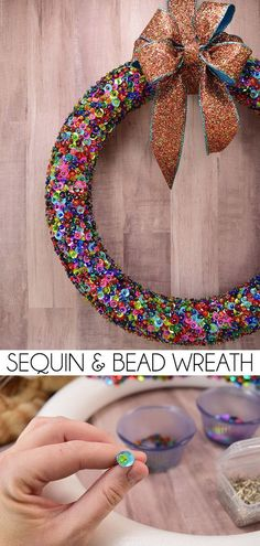 Leave this one up through New Year: #DIY Bead & Sequin Wreath -  #Christmas #NewYears #NYE #decor