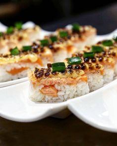 So much aburi sushi goodness @tme.melbourne  Salmon Oshi with signature aburi sauce and sweet soy