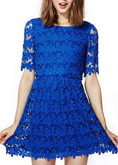 Graceful Short Sleeve Round Neck A Line Dress with cheap wholesale price, buy Graceful Short Sleeve Round Neck A Line Dress at rotita.com !