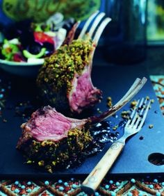 Herb and pistachio crusted rack of lamb recipe (use gluten-free bread crumbs) Oven Chicken Recipes, Lamb Recipes, Meat Recipes, Cooking Recipes, Healthy Recipes, Healthy Dinners, Quick Meals, Dinner Recipes, Lamb Rack Recipe