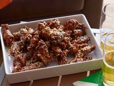 Sticky Wings with Crunchy Onions...think I would bake instead of fry, but god these look good!
