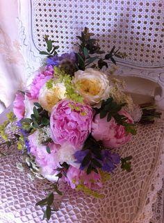 June wedding bouquet using British peonies, scabious, ladies mantle and David Austin roses www.wildandwondrousflowers. co.uk