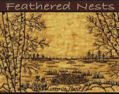 Feathered Nests Quilt Pattern Redwork by WellingtonHouseDesig