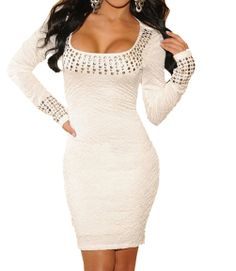Women's Lady Sexy White Pleated Studded Long Sleeves Cocktail Evening Mini Dress ($25.99) - http://www.amazon.com/exec/obidos/ASIN/B00FI229Q8/electronicfro-20/ASIN/B00FI229Q8