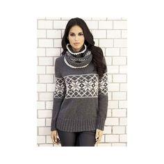 Sweater og løs krave med norsk mønster - strikkeopskrift