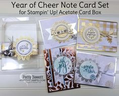 One of the holiday gift giving ideas I featured in my Year of Cheer suite product review video yesterday was this Acetate gift box with set of 4 cards and envelopes inside. The cards feature gold,