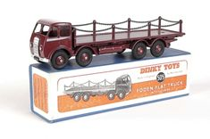 DINKY #505 Foden type 1 flat truck with chains, maroon