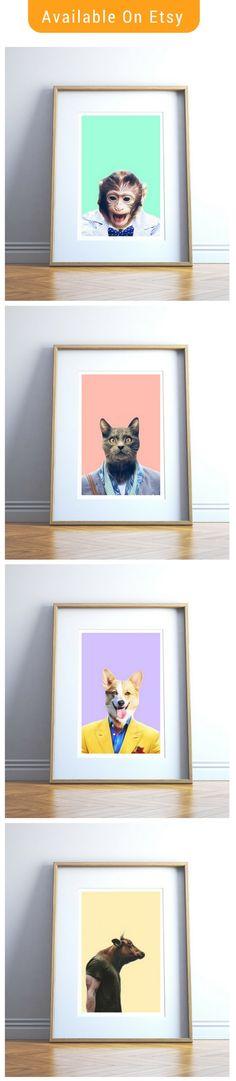 This listing is for a set of 4 funny animal printables. Printing Services, Online Printing, Printable Art, Printables, Baby Room Wall Art, Nursery Signs, Animal Nursery, Wall Prints, Funny Animals