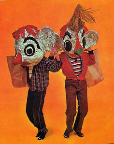 Giant foil heads from Alcoa's Book of Decorations, 1959 Theme Design, 3d Studio, Arte Popular, Weird And Wonderful, Puppets, Wearable Art, Art Inspo, Creepy, Character Design
