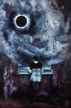 Dan Howell and the piano #04 ~ danisnotonfire - watercolour painting by szluu.tumblr.com