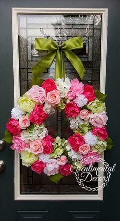 Velký Pivoňka Růže a Hydrangea věnec, Svatební věnec, léto věnec, Shabby Chic Věnec, růžové a zelené svatební Květinový věnec, Everyday Věneček