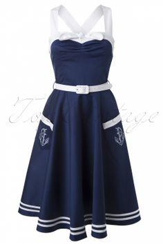 Bunny - 50s Siren Sailor Swing Dress in navy