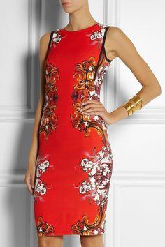 Roberto Cavalli|Printed stretch-crepe dress|NET-A-PORTER.COM