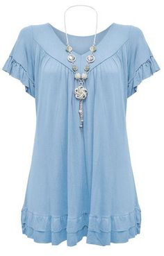 f878c6f0d2c Womens Plus Size Frill Necklace Gypsy Tunic V Neck Top