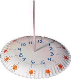 Easy preschool crafts has an educational craft using a paper plate, straws and markers making a working sundial to help kids learn about ...